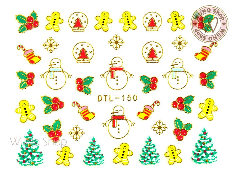 Gold Christmas Gingerbread Snowman Nail Art Sticker - 1 pc (DTL-150G)