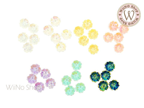 Iridescent Five Petal Flower Nail Art Cabochons - 5 pcs
