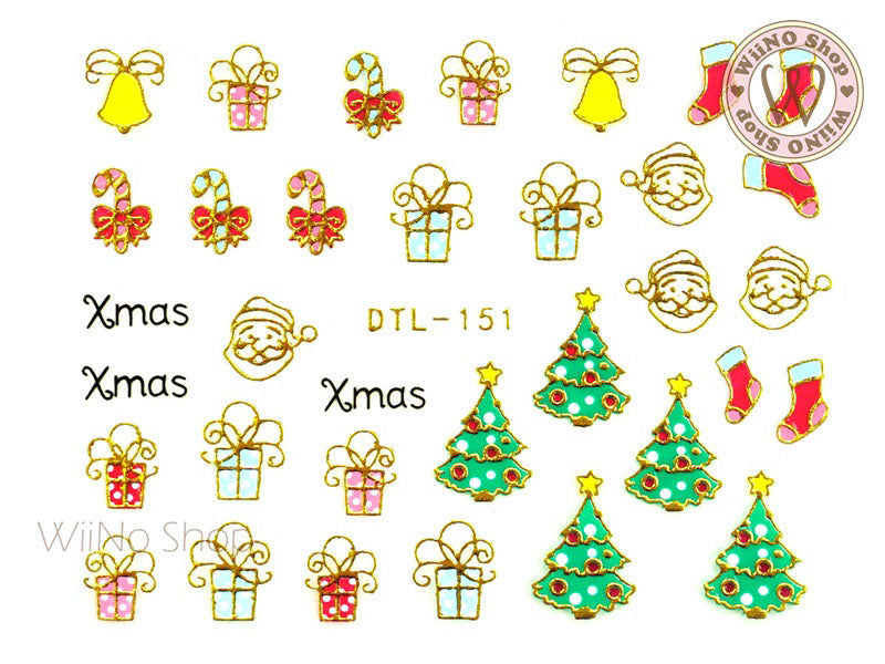 Gold Christmas Gift Nail Art Sticker - 1 pc (DTL-151G)