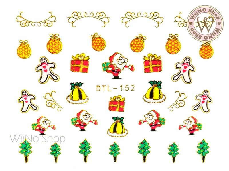 Gold Christmas Santa Nail Art Sticker - 1 pc (DTL-152G)