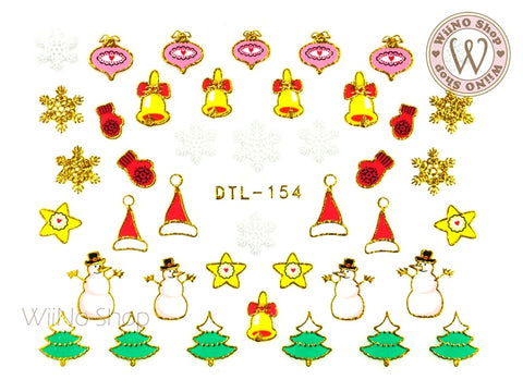 Gold Christmas Ornament Snowman Nail Art Sticker - 1 pc (DTL-154G)