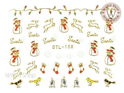 Gold Christmas Reindeer Snowman Nail Art Sticker - 1 pc (DTL-158G)