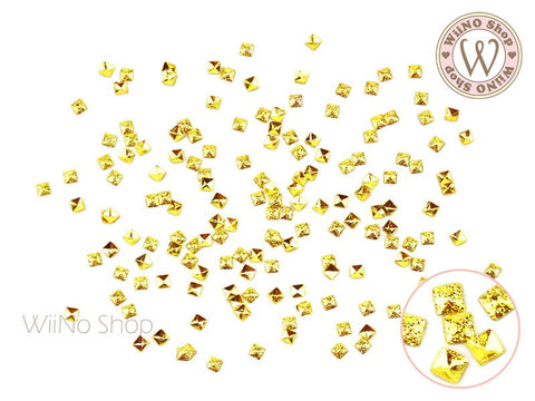 2mm Gold Textured Square Metal Studs - 25 pcs