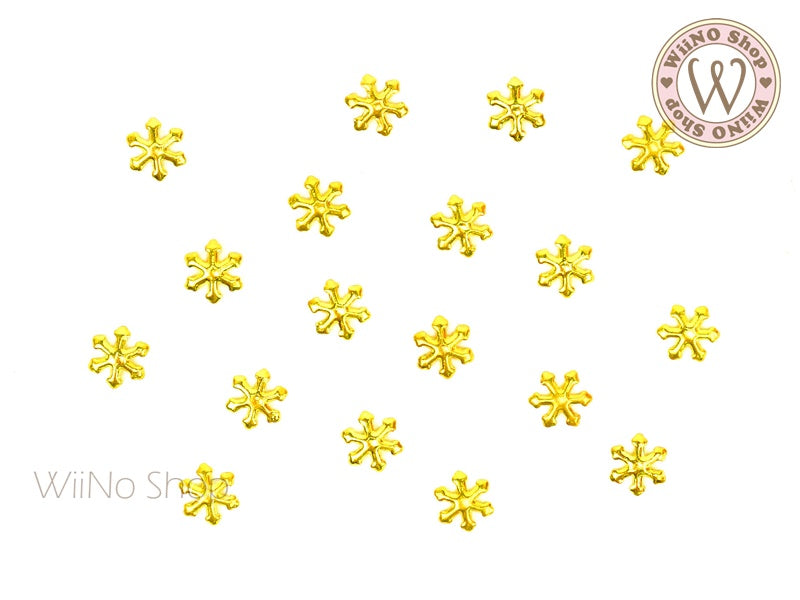 Gold Snowflake Metal Studs - 10 pcs