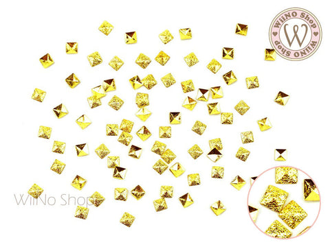 3mm Gold Textured Square Metal Studs - 25 pcs