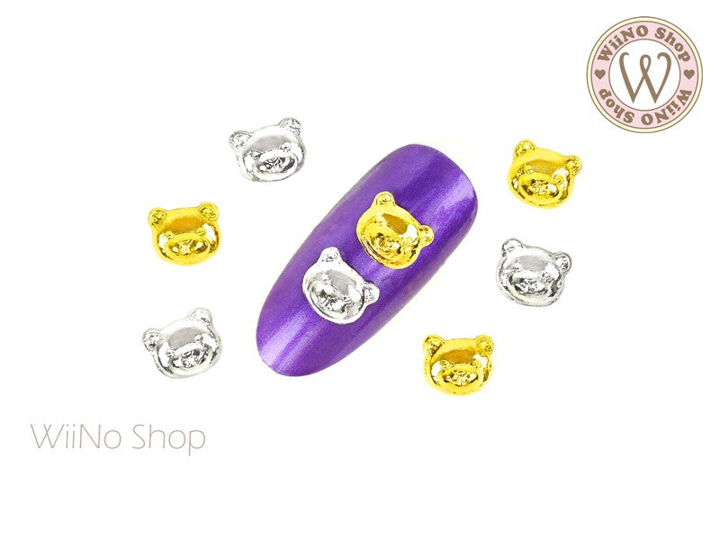 Teddy Bear Head Nail Metal Charm - 2 pcs