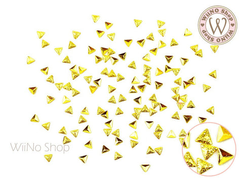 3mm Gold Textured Triangle Metal Studs - 25 pcs