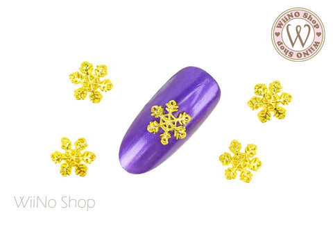 Hollow Snowflake Nail Metal Charm - 2 pcs
