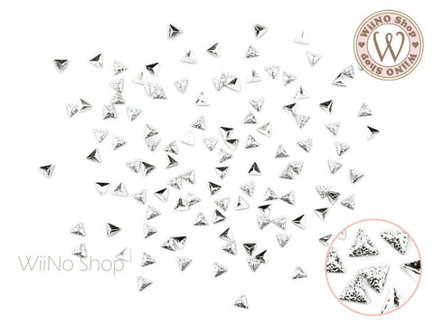 3mm Silver Textured Triangle Metal Studs - 25 pcs