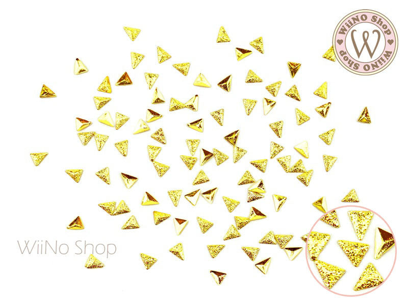 3 x 4mm Gold Textured Triangle Metal Studs - 25 pcs