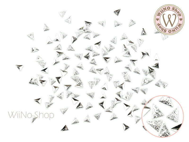3 x 4mm Silver Textured Triangle Metal Studs - 25 pcs