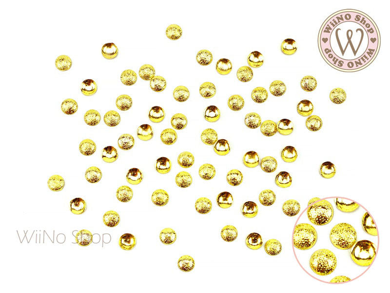 4mm Gold Textured Round Dome Metal Studs - 25 pcs