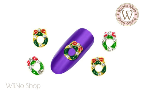Christmas Wreath Nail Metal Charm - 2 pcs (WR03)