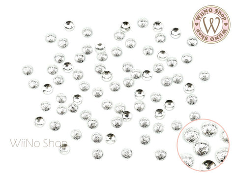 4mm Silver Textured Round Dome Metal Studs - 25 pcs