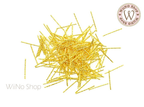 0.8 x 16mm Gold Long Twisted Tube Metal Studs- 25 pcs