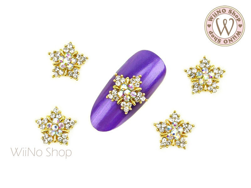 Gold Twinkle Crystal Star Nail Metal Charm - 2 pcs