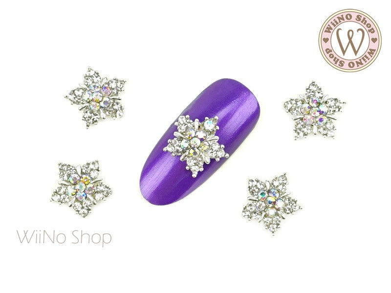 Silver Twinkle Crystal Star Nail Metal Charm - 2 pcs