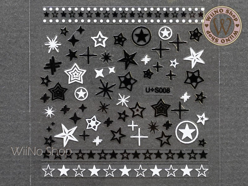 Black White Star Adhesive Nail Art Sticker - 1 pc (U+S008)