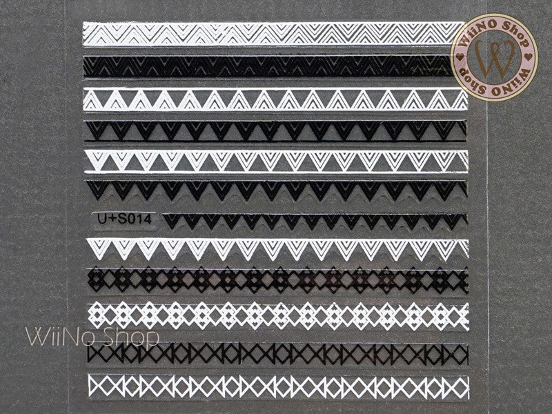 Black White Triangle Pattern Adhesive Nail Art Sticker - 1 pc (U+S014)