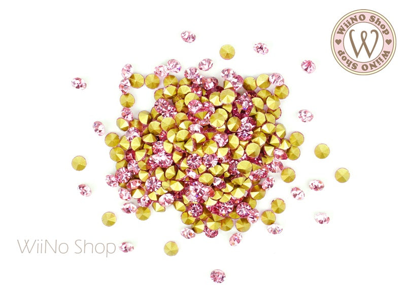 ss12 Pink Round Point Back Crystal - 50 pcs