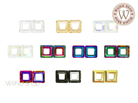 10mm Square Hollow Ring Crystal - 2 pcs