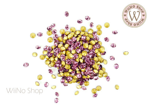 ss12 Amethyst Round Point Back Crystal - 50 pcs
