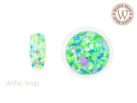 Green Heart Star Mixed Glitter (MH03)