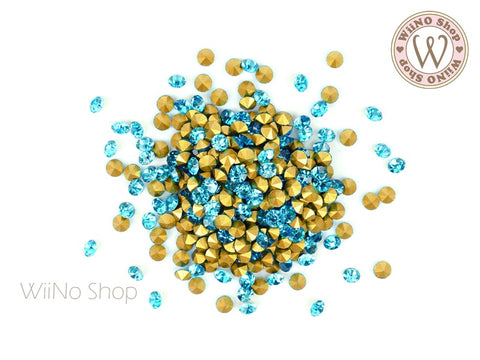 ss12 Blue Aquamarine Round Point Back Crystal - 50 pcs