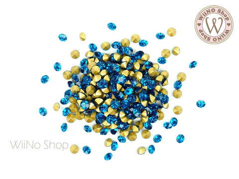 ss12 Turquoise Blue Round Point Back Crystal - 50 pcs