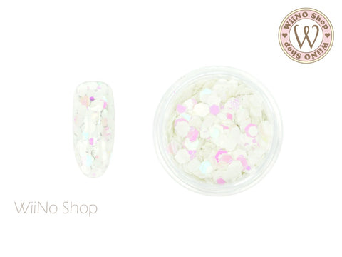 White Dream Hexagon Mix Sizes Glitter (TH02)