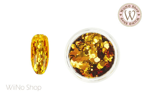 Gold Hexagon Mix Sizes Glitter (TH03)