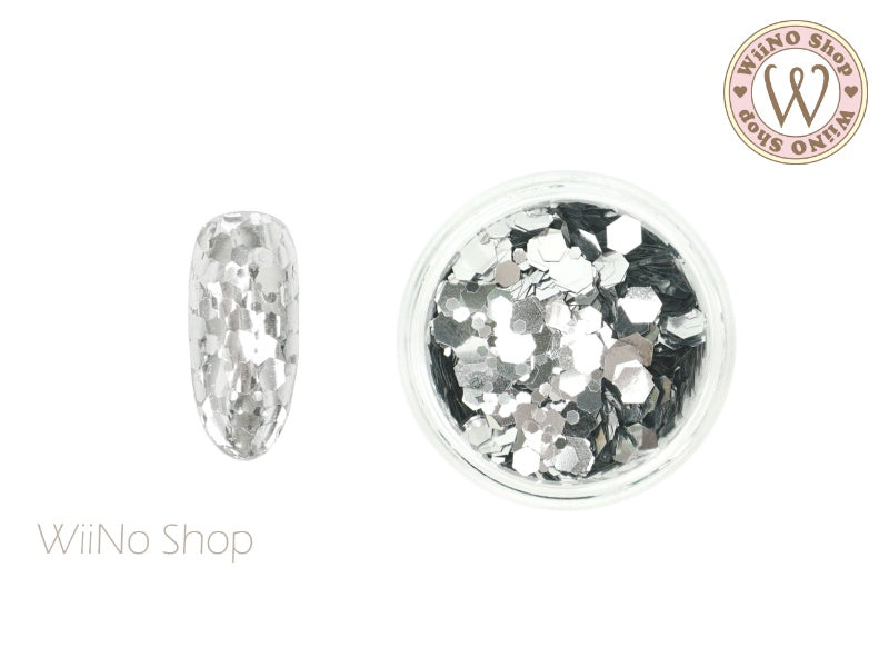Silver Hexagon Mix Sizes Glitter (TH04)
