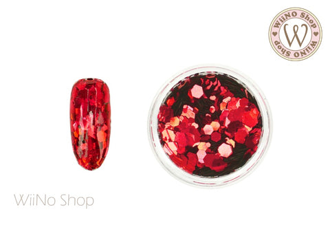 Red Hexagon Mix Sizes Glitter (TH06)