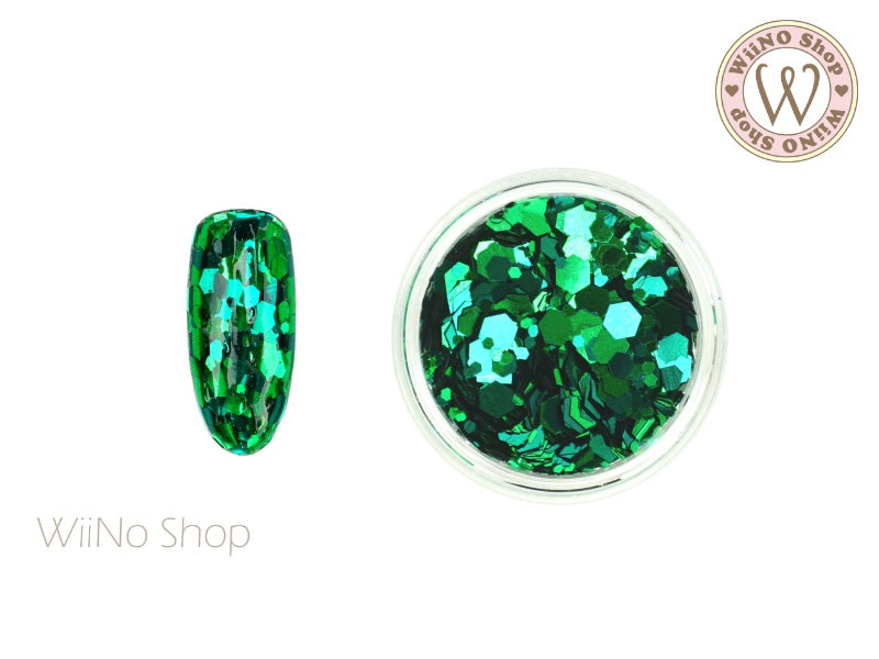 Green Hexagon Mix Sizes Glitter (TH07)