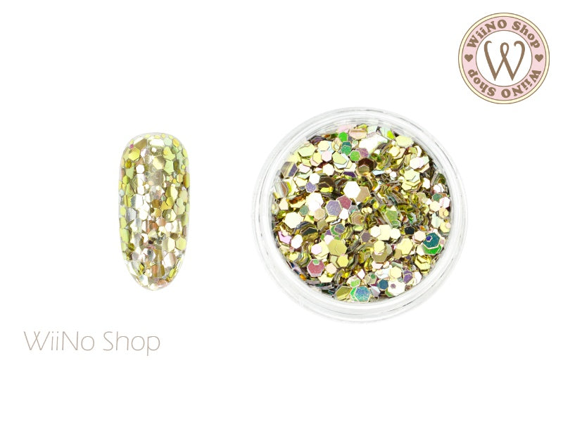 Light Green Ombre Hexagon Mix Sizes Glitter (HO01)