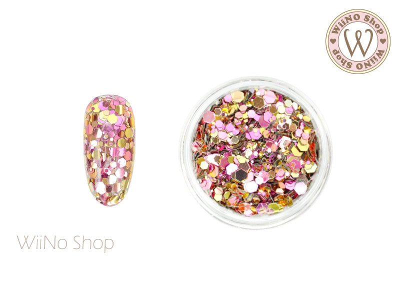 Pink Ombre Hexagon Mix Sizes Glitter (HO02)