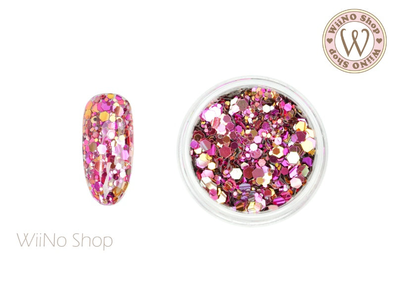 Fuchsia Ombre Hexagon Mix Sizes Glitter (HO03)