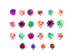 Colorful Flower Nail Art Cabochons - 5 pcs