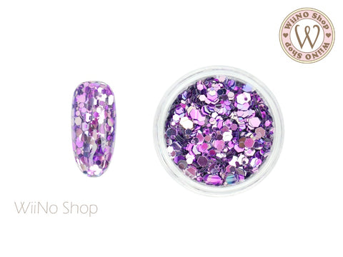 Purple Ombre Hexagon Mix Sizes Glitter (HO04)
