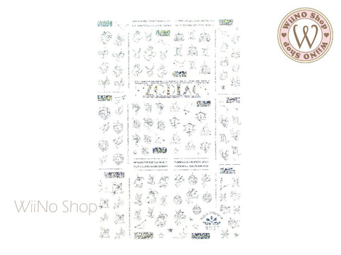 Zodiac Silver Holographic Adhesive Nail Art Sticker - 1 pc (R087SH)