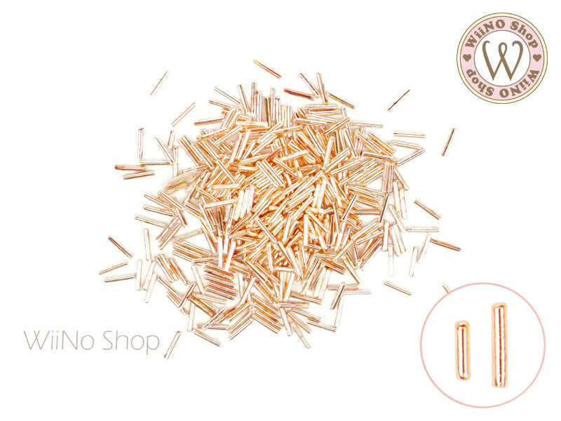 Rose Gold Tube Metal Studs - 50 pcs (1x4mm/1x6mm)