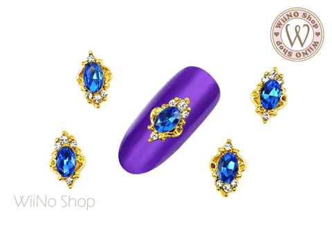 Royal Blue Oval Rhinestone Victorian Nail Metal Charm - 2 pcs