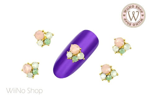 Pastel Opal Crystal Small Cluster Nail Metal Charm - 2 pcs