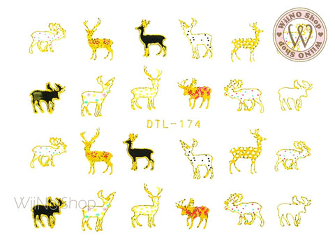 Reindeer Nail Art Sticker - 1 pc (DTL-174G)