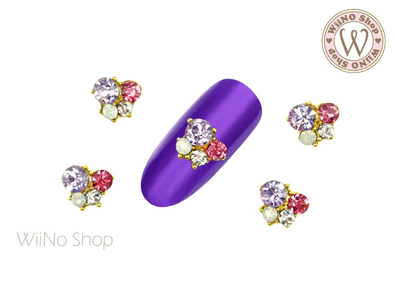 Purple Crystal Small Cluster Nail Metal Charm - 2 pcs