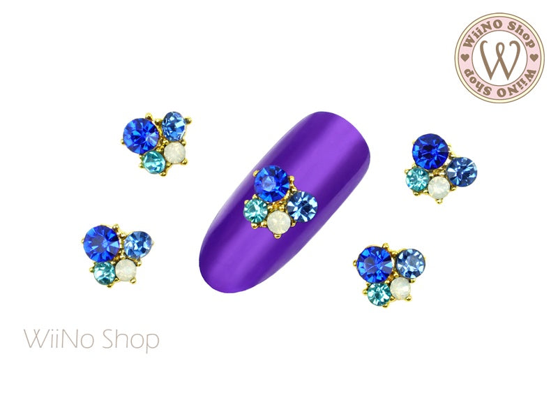 Blue Crystal Small Cluster Nail Metal Charm - 2 pcs
