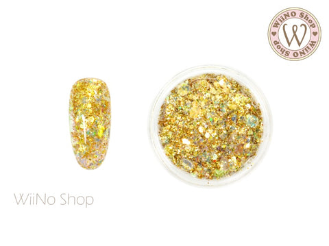 Gold Ice Iridescent Hexagon Mixed with Glitter Dust (IR01)