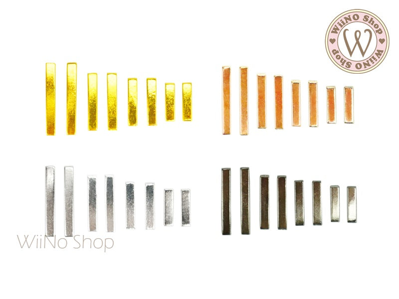 Rectangle Bar Metal Decoration - 10 pcs (2x8mm/10mm/12mm/15mm)