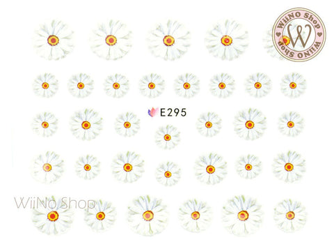 E295 White Daisy Flower Adhesive Nail Sticker - 1 pc