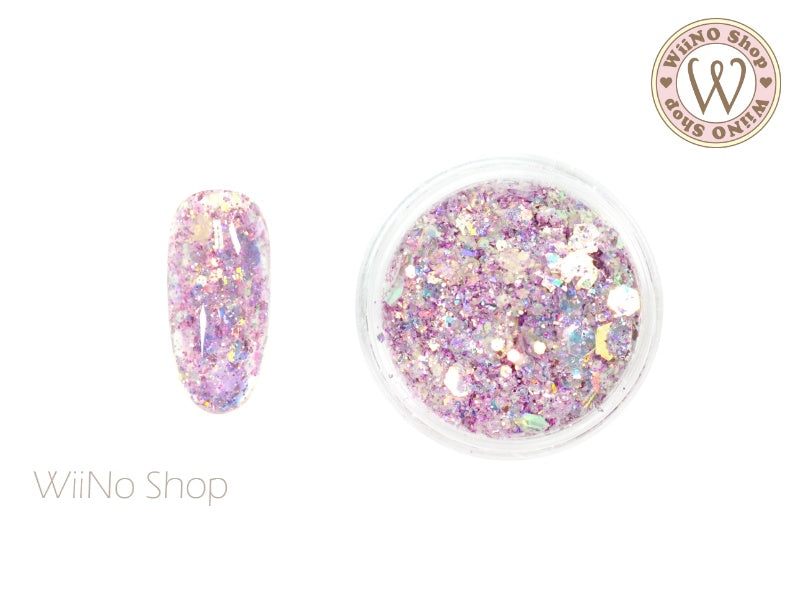 Purple Ice Iridescent Hexagon Mixed with Glitter Dust (IR05)